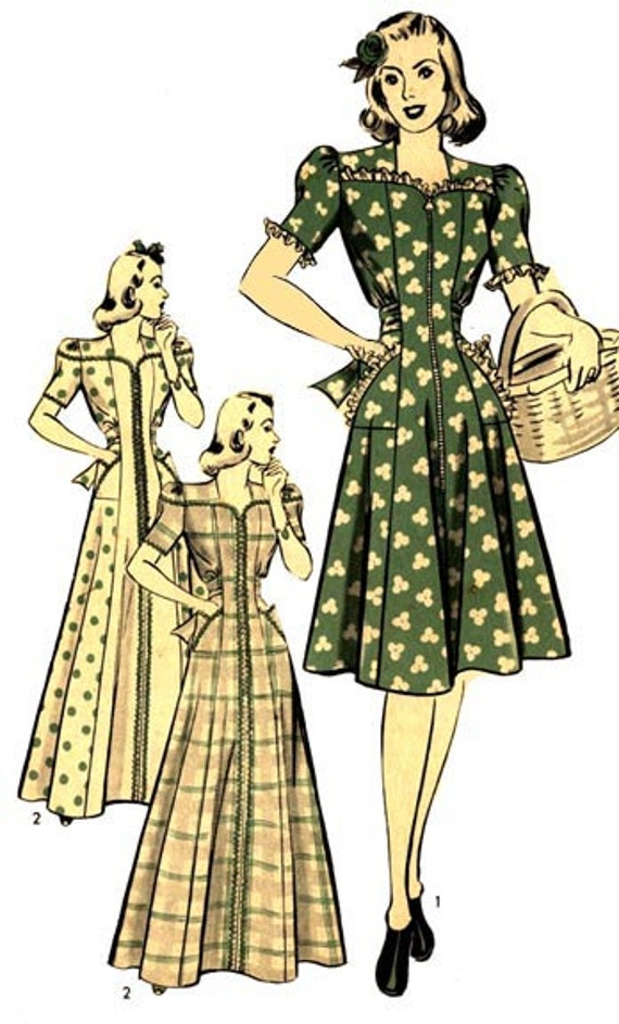 1940s Fabrics and Colors in Fashion 1941 Housecoat or Dress Pattern by EvaDress $18.00 AT vintagedancer.com