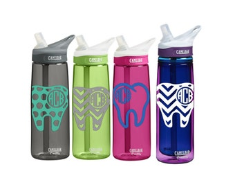 Dental Personalized CamelBak 0.75 L Eddy or 0.6 L Insulated Personalized Monogram Dental Dentist Dental Hygienist Monogram Water Bottle