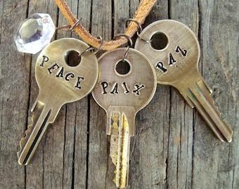 PEACE PAIX PAZ Key Necklace – Engraved Key Necklace – Hand Stamped Key Jewelry – Stamped Key Necklace – Word Key