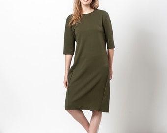 Midi Dress, Olive Green Dress, Army Green Dress, Dark Green Dress, Knee Length Dress, Spring Dress Women