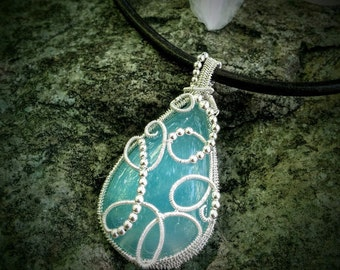 Heavenly blue wire wrapped chalcedony silver pendant- angel jewelry