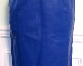 Vintage Skirt Leather Electric Blue Renaissance 1980s Wiggle