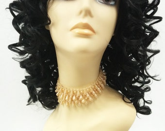 13 Inch Lace Front Black Curly Wig. Large Spiral Curls. Heat Resistant Synthetic Fashion Wig. [76-392-Molly-1]