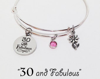 30th Birthday Gift, 30th Birthday for Her, Adjustable Bangle Bracelet, 30th Birthday, 30th Birthday Gift for Her, 30 and Fabulous, Thirty
