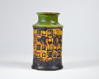 Vase BAY W. Germany 60 14 German ceramic Fat Lava yellow green and black Vintage