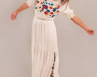 Boho wedding dress, rustic wedding dress, bohemian wedding dress, floral embroidered wedding dress, cotton dress, alternative wedding dress
