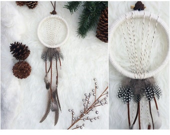 Modern Holiday Decor - Large Dream Catcher Wall Hanging - Modern Rustic - Bohemian Dreamcatcher -Winter White Home Decor - Boho Dreamcatcher