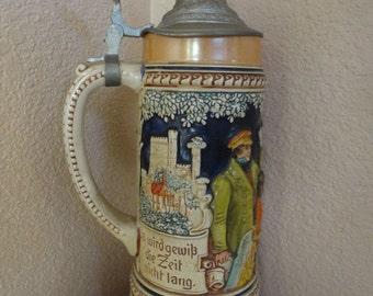 Vintage Le Troisieme Homme Lidded Music Box Beer Mug Stein