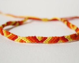 Yellow, Orange and Red Friendship Bracelet