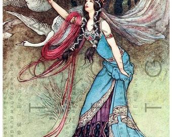 SPECTACULAR PRINCESS & Swans. Vintage FAIRY Tale Digital Download. Warwick Goble Art. Vintage Fairy Print.