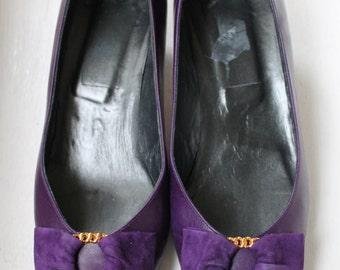 High heels in purple leather Vtg size 8 1/2 / Italian Shoes Purple Vtg 8 1/2