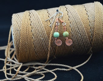 Infinity Swirl copper earrings with turquoise beads