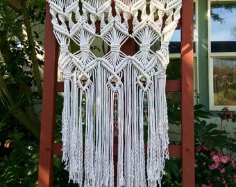 Outdoor Decor Garden Art Boho Decor Hippie Decor Macrame Hanging Bohemian Decor Gypsy Decor Boho Chic Garden Decor Home Decor Patio Decor