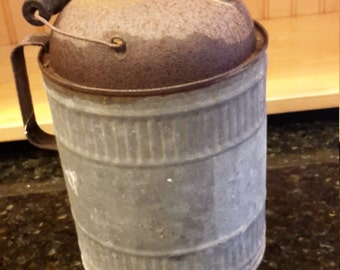 Galvanized handled kerosene can, gas can, railroad can