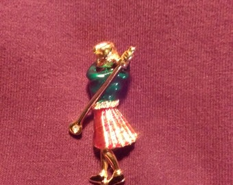 Lady Golfer Pin with bonus earring