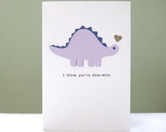 I love you greeting card - dinosaur anniversary card - funny dinosaur pun - cute husband anniversary boyfriend girlfriend wife - Handmade UK