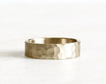 14k gold wedding band, hand carved texture, eco friendly, solid gold, handmade, 5mm, wedding ring, recycled wedding ring