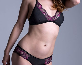Organic Cotton Bra with Adjustable Back Hook Closure - Black with Black and Pink Lace - Made To Order Lingerie ' Bird of Paradise' Bra
