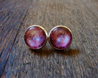 galaxy stud earrings (pink version)   space, astrology, stars, NASA, neon pink, posts