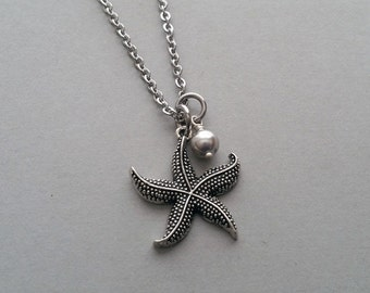 Starfish Necklace, Starfish Charm Necklace, Beach Charm Necklace, Beach Necklace, Starfish Jewelry, Beach Jewelry, Stainless Steel