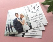 Photo Save-the-date post card, Wedding logo, laurel, handwritten style save the dates, navy blue wedding