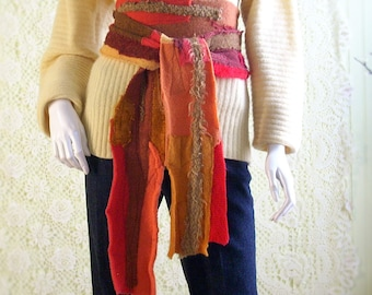 Long Patchwork Scarf/Upcycled Knit Scarf/Boro Neck Wrap/Art Scarf/Bohemian Scarf/Spicy Colors  By Brenda Abdullah
