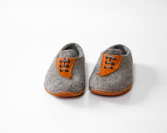 Bure Bure Handmade wool shoes natural and cozy Men women shoes gray tie sneakers Gift for her him