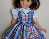 """For 21"""" Ideal P-93 Toni Doll - Plaid 3 Button Jumper Dress Inspired by Original"""