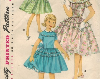 1950s Simplicity 1671 Vintage Sewing Pattern Girl's Party Dress, Full Skirt Dress Size 10