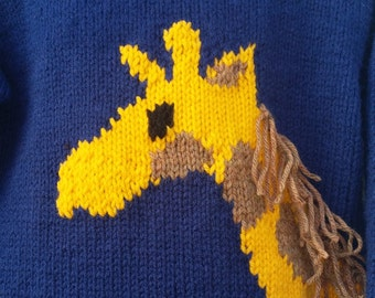 Hand knit Giraffe Ragland Sleeve rolled neck, bottom and sleeve pullover Navy size 4T