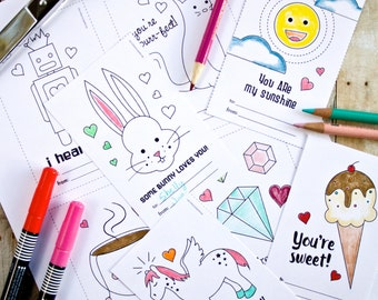DIY Printable Valentine Coloring Cards--8 cute designs--cat, robot, pegagus, ice cream, and more!