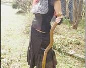 SALE - Skirt - Steampunk - Bohemian - Patchwork - Burning Man - Playa Wear - Gypsy Boheme - Designer Fashion - Sexy - Fashion - Size Small