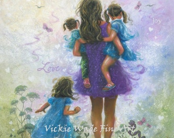 Mother and Three Daughters Art Print, three sisters, three girls, Mom, purple, blue, mother's day gift, brunette girls, wall art, Wade Art