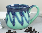 Large 28 oz. Coffee Mug, Tea Cup, Hot Cocoa Big Old Cup, Mint green and blue, Hostess Gift
