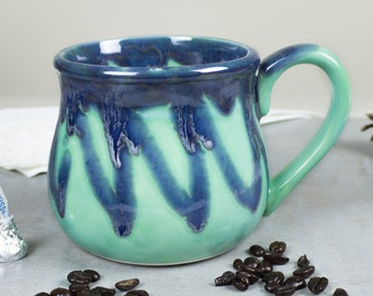 Large 22 oz. Coffee Mug, Tea Cup, Hot Cocoa Big Old Cup, Mint green and blue, Hostess Gift