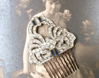 Antique Art Deco Sapphire Rhinestone Bridal Hair Comb, 1920s Vintage Silver Dress Clip Hairpiece GATSBY Something Blue Old Crystal Hair Clip