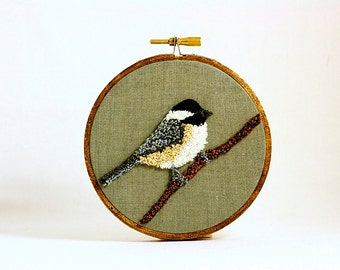 Ready to Ship! Black-Capped Chickadee Punchneedle Embroidery Hoop Wall Art 4 Inch Hoop. Fiber Art. Home Decor. Bird Art. Green, Gray, Brown