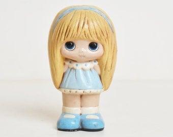 Vintage 60s MOD Big Eyed Paper Mache Dolly Figurine