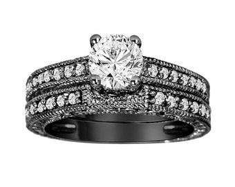 0.79 Carat Diamond Wedding Ring Set, Engagement Ring Set 14K Black Gold Vintage Antique Style Engraved handmade