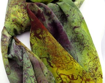 silk scarf large long hand painted Spanish Moss crepe unique luxury wearable art women fashion sage green purple chartreuse