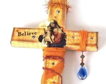 Decoupaged Wall Cross Decorated Crucifix Orange Yellow Virgin Mary Madonna and Child Catholic Art Christian Art Mixed Media Religious Gift