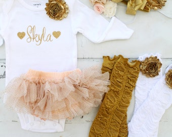 Summer Birthday Outfit Peach and Gold Baby Girl Set  Chiffon & Ruffles Personalized Bodysuit, Diaper Cover, Ruffle Rose Leg Warmers Headband
