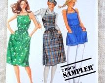 Vintage McCall's pattern vintage apron dress Jumper 1970s 1980s Smock Maxi Wraparound Wrap dress Halter Small, Medium, Large Uncut