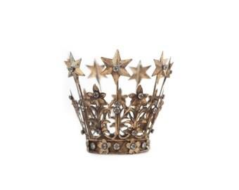 Crown Cake Topper, Santos Crown, Gold Crown, Star Crown, Wedding Cake Topper, Crown Photo Prop
