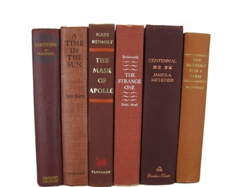 Brick Maroon Earth Tone Vintage   Books,  Books , Vintage Wedding Decor, Vintage  Photography Prop