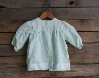 Vintage Pale Green Children's Dress with White Lace Accents Size 24 Months