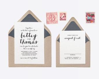 Custom Wedding Invitation +RSVP Rubber Stamp