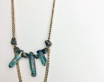 quartz point necklace mineral necklace blue crystal necklace raw stone necklace raw stone jewelry pyrite necklace | Myko raw stone necklace