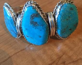 Nevada Blue Gem TURQUOISE STERLING Silver Native American Navajo Heavy Cuff Bracelet 63 grams