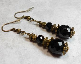 Goth Earrings, Black Earrings, Drop Earrings, Dangle Earrings, Beaded Earrings, Faceted Glass, Antiqued Brass, Victorian Style, Womens
